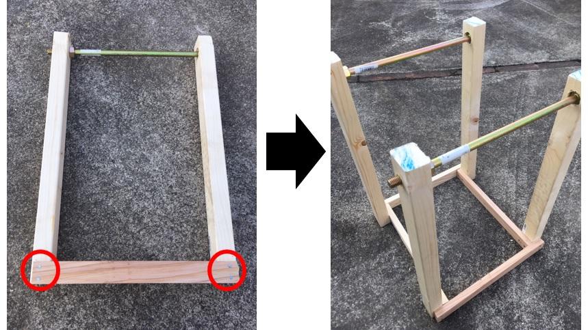 材木に六角ボルトをつける